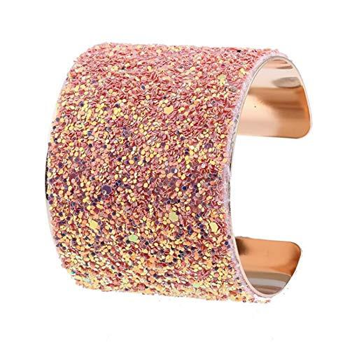 N/A Pulseras y brazaletes de Lentejuelas con Diamantes de imitación a la Moda para Mujer, Pulsera Colorida de Color Dorado, Brazalete para graduación, GIF Regalo de cumpleaños de San Valentín