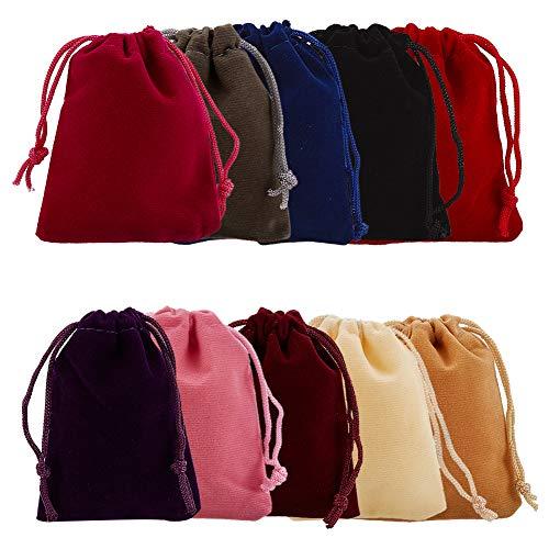 PandaHall 40 Bolsas Bolsas de joyería de Terciopelo Negro Bolsas con cordón Bolsas de Regalo 9x7cm