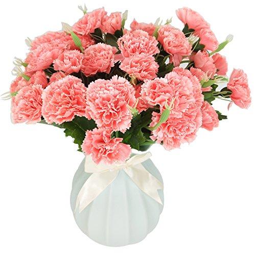 MZMing 4 piezas Artificial de Flores de Seda Clavel 10 Cabezas /Arreglo de flores Para la Casa de Ramo de boda sepulcros Decoración - Rosa