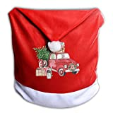 FUNMAX Red Truck Vintage Christmas Tree Non-Woven Xmas Christmas Themed Dinner Chair Cap Hat Covers Set Ornaments Backers Protector for Seat Slipcovers Wraps Coverings Decorations