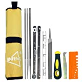 Chainsaw Sharpener File Kit (Flat File,5/32,3/16,7/32 Round Chainsaw Files,Depth Gauge,File Guide,Quick Check Gauge,Cleaner,Handle,Pouch) - Sharpening All Brand Chains Blades and Teeth - 10pcs Set