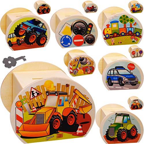 alles-meine.de GmbH große Holz - Spardose - Auto & Fahrzeuge - mit Schlüssel & Schloß - stabile Sparbüchse - 11,5 cm - Sparschwein - für Kinder & Erwachsene - Kinderspardose / gr..