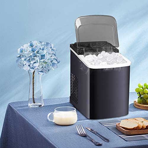 Northair Stainless Steel Portable Countertop Ice Maker with Ice Scoop and Basket 26 lb. Daily Capacity - Black