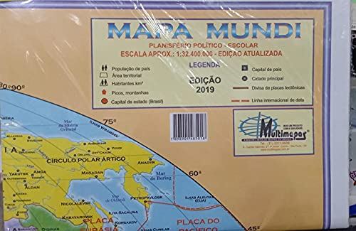 Mapa Escolar Mundi Politico 120x90 cm x 1 Unidade, Multimapas 203, Multicor, Pacote de 1