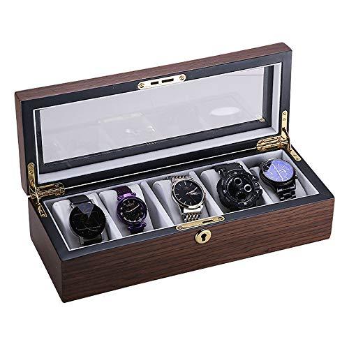 Caja de Reloj para Hombres, Organizador de Relojes de Lujo de Madera Maciza, Caja de Reloj con Cerradura, Tapa de Cristal Real, bisagra de Metal