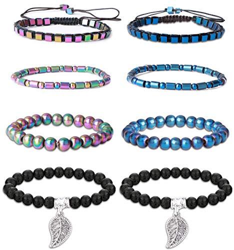 Thunaraz 8Pcs Hematite Bracelet for Men Women Therapy Bracelet Magnetic Bracelet Lava Rock Stone Relieve Arthritis Headache Stress Weight Loss