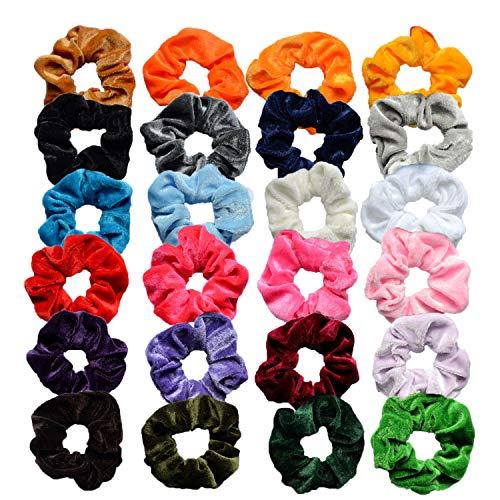 Cheveux Chouchous, INTVN Cheveux Cravates Élastique Chouchous Doux Bandeaux de Cheveux Cheveux Accessoires, Couleurs mixtes, 24 Pièces