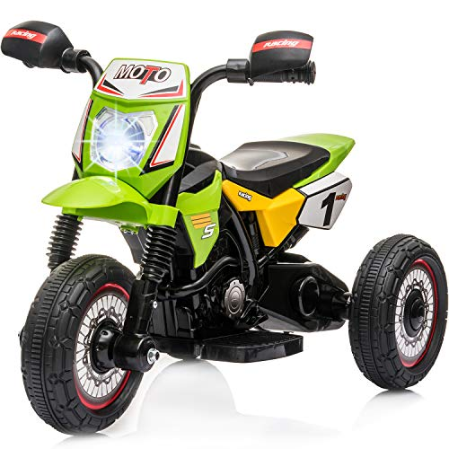 Little Brown Box Kids Dirt Bike Ride On Motorcyle Vehicle Toy - 6V Electric Three Wheels Quad - Battery Powered, Lights, Sound Kids Ride On Motorcycle for Toddler, Girls & Boys 3 Year Old Up - Green