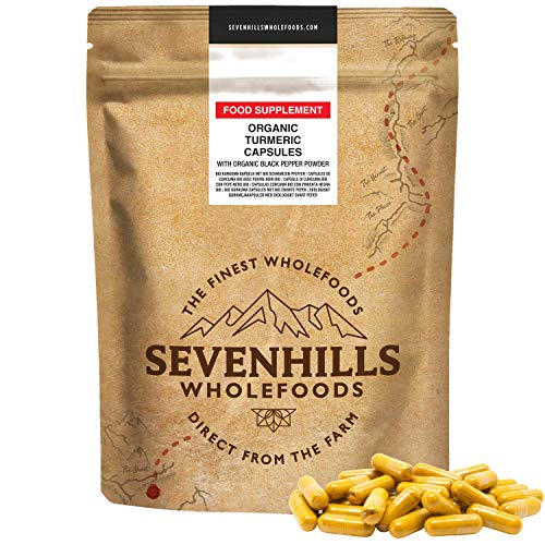 Sevenhills Wholefoods Organic Turmeric with Black Pepper Powder Capsules 365 x 500mg