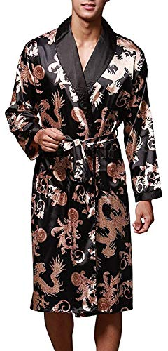 VERNASSA Mens Satin Robe Silk Long Sleeve Kimono Bathrobe Sleepwear Loungewear Black