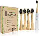 Bamboo Eco Friendly Biodegradable Replacement Electric Toothbrush Heads for Philips Sonicare / 4 Pack / DiamondClean / ProtectiveClean / DailyClean / ProResult / Medium Bristles / BPA Free / Vegan