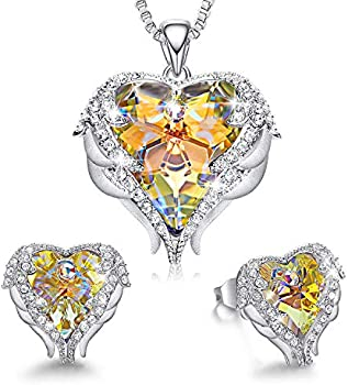 CDE Angel Wing Heart Necklaces 18K White Gold Plated Jewelry Set