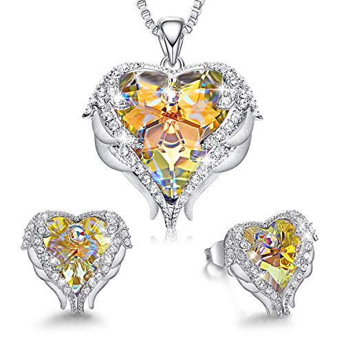 CDE Angel Wing Heart Valentine Jewelry Sets Gift Set for Women Pendant Necklaces and Earrings Anniversary Birthday Jewelry Gifts for Women Love