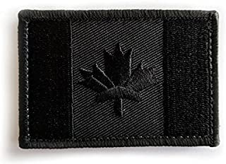 Canadian Flag Iron-on Embroidered Patch - Tactical Military Morale Canada - Black Blackout
