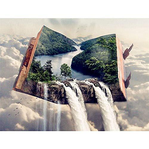 DIY 5D Diamante Pintura Kits Libro paisaje de cascada Grande Taladro Completo Diamond Painting Bordado cuadros Rhinestone Punto de Cruz Diamante arte Craft de decoración del hogar (50x70cm,20x28in)