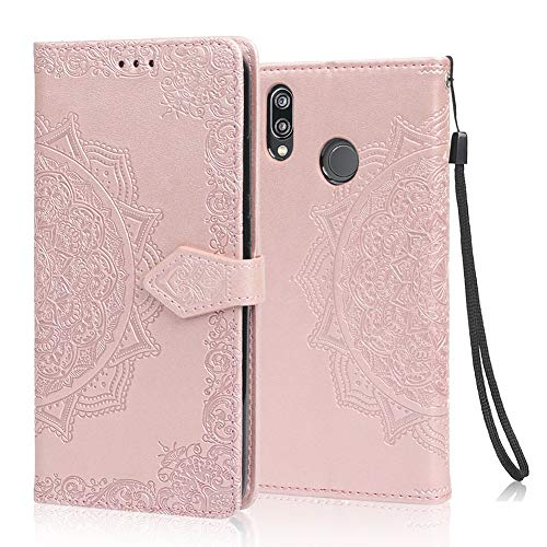 achoTREE Funda para Huawei P20 Lite, Cuero De La PU Capirotazo Billetera para Huawei P20 Lite,Flip Cover Smart magnética con Stand Plegable - Oro Rosa