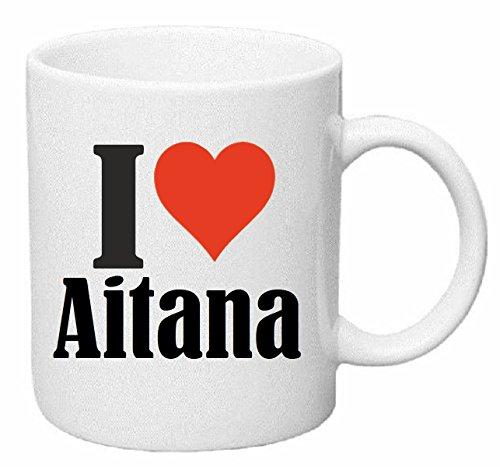 taza para café I Love Aitana Cerámica Altura 9.5 cm diámetro de 8 cm de Blanco