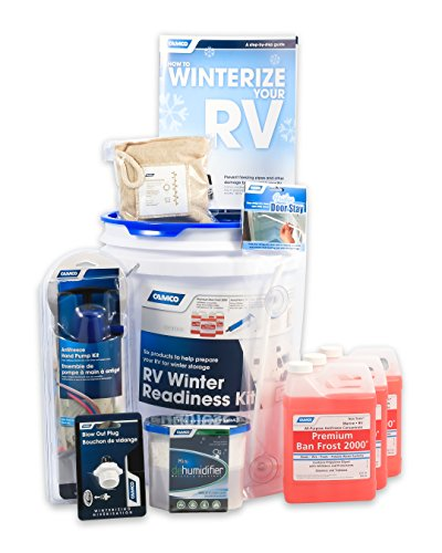 Camco 36190 RV Winter Readiness Kit - Includes Antifreeze Concentrate and Hand Pump, Blow Out Plug, Dehumidifier and More - Comes with Bonus Winterizing Guide