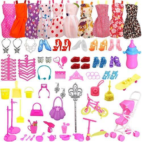 ZSWQ 104 Stück Kleidung Accessories für Barbie Puppen Kinderspielhaus , Puppenzubehör Spielzeug , Modisches, Langlebiges Rollenspielset für Party Weihnachten Geschenke Mädchen Kinder
