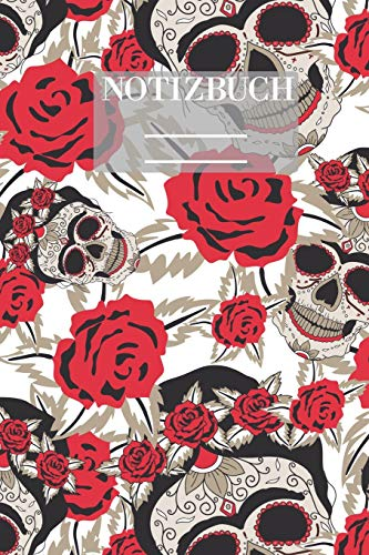 Notizbuch Garten Muster Pattern Pflanzen Blumen Pflanze Flower Blüte Rose Schädel Knochen: • 111 Seiten • EXTRA Kalender 2020 • Einzigartig • Liniert • Linien • Linie • Geschenk • Geschenkidee