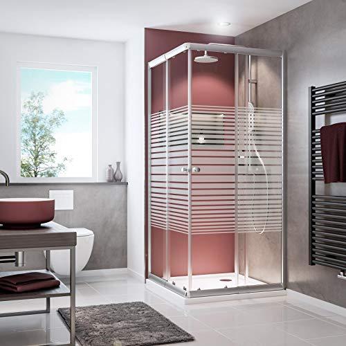 Schulte D19442 169 72 Paroi de douche accès d'angle avec portes coulissantes, verre décor rayures, profilé argenté, 80 x 80 cm, 90 x 90 cm