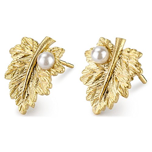 JOE COOL Stud Earring Leaf with Pearl Drop Made with Tin Alloy