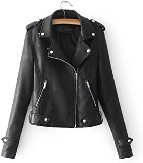 Howely Women Lapel Motorcycle Faux Leather Sexy Zip up Coat Jacket