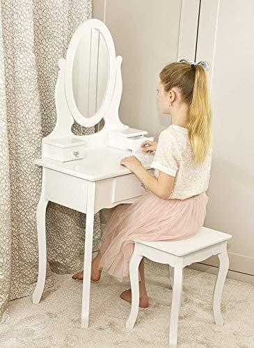 Mädchen-Dressing-Tisch Mit Spiegel Und Hocker Kinder Hölzerner Kinder-Ankleideretisch Mit Kristallknopf-Ankleide-Tisch Für Kinder 8 Bis 13 Kinder,White