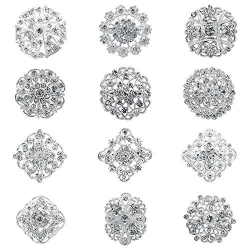 WeimanJewelry Silver/Gold Plated 12pcs Crystal Rhinestones Flower Brooch Pins DIY Wedding Bouquets Kit