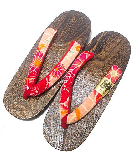 CP [Japon Made] Geta Paulownia Sandales en Bois Chaussures Traditionnelles Chrysanthème Taille L 26cm (Violet)