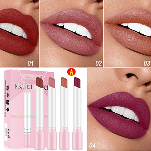Sticker Zigarette Lippenstift Set Packung Matte Lipstick 4 Farben Langlebiges,einfach zu...