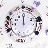 WalcoHome Purple Acrylic Wall Clock Natural Dried Flowers Non-Ticking Silent Modern Creative Unique Design Battery Operated Life is Fashion Wall Mounted on Classroom Office Living Room Kitchen
