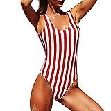 Bikinis Mujer,Dragon868 Bañador de una Pieza con Estampado Floral a Rayas Estilo Bohemio 2020(Rojo,M)