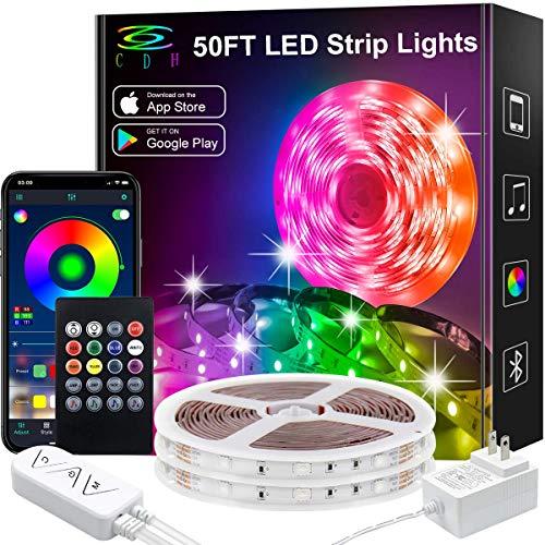 LED Strip Lights,50Ft Color Changing LED Strip Lights Music Sync,Bluetooth App Controlled Remote,5050 RGB LED Rope Lights 16Million color,Sensitive Built-in Mic,LED Lights for Bedroom Kitchen TV Party