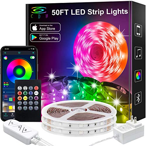 LED Strip Lights,50Ft Color Changing LED Strip Lights Music Sync,Bluetooth App Controlled Remote,5050 RGB LED Rope Lights 16Million color,Sensitive Built-in Mic,LED Lights for Bedroom Kitchen TV Party