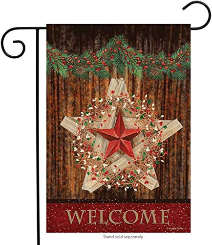 ~ Holiday Barnstar Berries Garden Flag Welcome Christmas Garland 12.5' x 18'