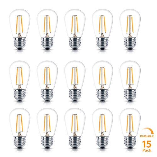 Brightech Ambience PRO LED Energy Efficient 2 Watt Soft White 2700K Dimmable Bulb - Outdoor String Lights – Edison-Inspired Exposed Filaments - 15 Pack - E26 Base