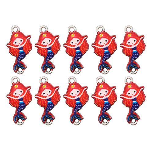 Artibetter 10pcs Alloy Charms Pendant Mermaid Girl Pendants Dangle Charms Connectors DIY Jewelry Making Accessory (Red )