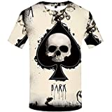 KYKU Poker Shirt for Men Skull Shirts Ace of Spades T Shirt Funny Graphic Tees (X-Large)