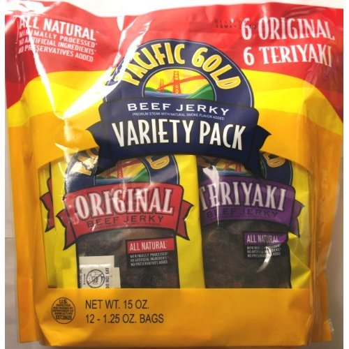 COS-SL 12 Variety Pack Pacific Gold Beef Jerky Premium Streak All Natural of 1.25 Bag