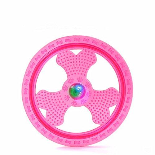 Wandrola Hundefrisbee, Sportgerät/Spielzeug für Hunde, mit blinkenden LED-Lichtern, leuchtet auf für ultimatives Spielen im Dunkeln, rose