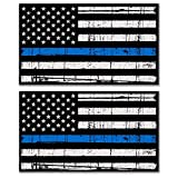 Blue Lives Matter Sticker USA - 2 Pack Thin Blue Line Decal Distressed Flag - Back The Blue Police Law Enforcement Weather Resistant Bumper Sticker for Window, Laptop, Water Bottle, Tool Box