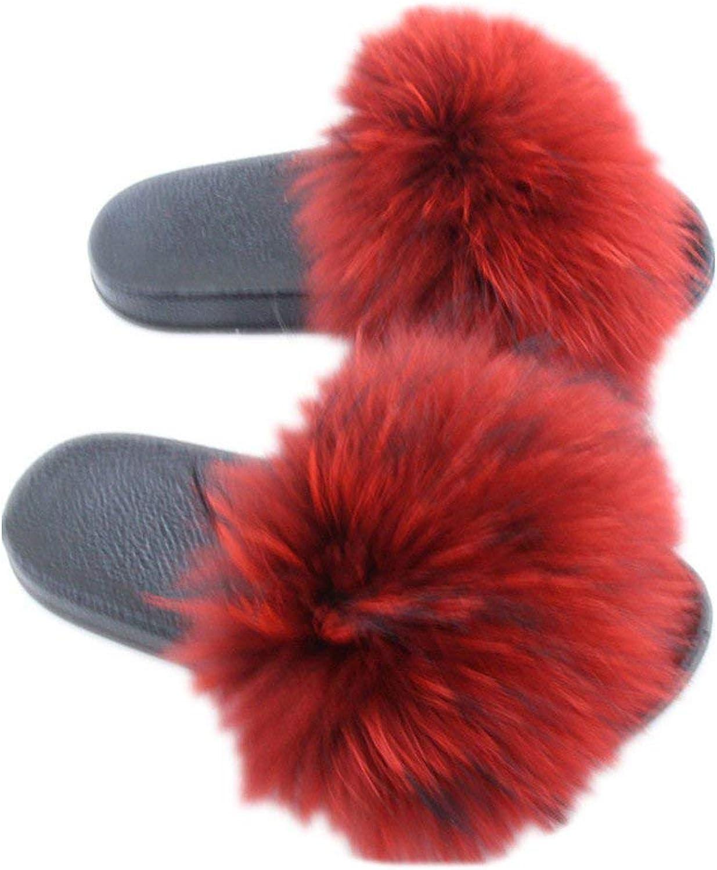 HaHapo Women's Open Toe Raccon Fur Slide Slippers