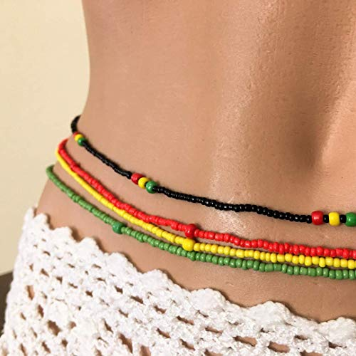Rasta 4 Strand Waist Beads, Belly Chains, Stretchy Elastic String Waistbeads, Body Jewelry, Red Yellow Green and Black, Anklet, African Waist Beads, Belly Bead