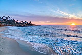 San Diego, California - La Jolla Beach Sunset - Photography A-92854 (9x12 Fine Art Print, Home Wall Decor Artwork Poster)