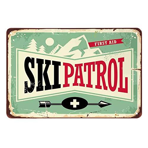 Ski Patrol Blechschild, Bergbaum Sonnenpfeil Abenteuer Erste Hilfe Vintage Metall Blechschilder für Cafés Bars Pubs Shop Wall-20x30cm