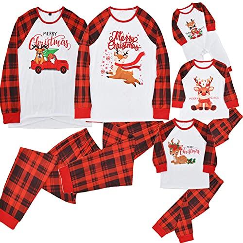 Pigiama Famiglia Coordinati Pigiama Natale Famiglia Pigiami Coordinati Natalizio Fantasia Renne Bellissimi Colori Set di Natale Abiti da Notte per Donna Uomo Ragazzo Ragazza Bebè