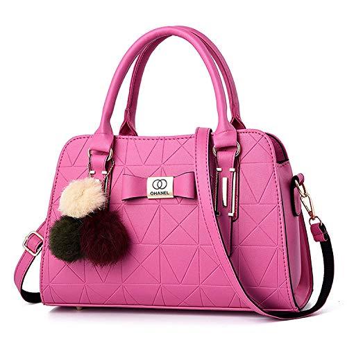 MR STORES Bolso de hombro del bolso de las últimas mujeres de la PU con la tira, rosa (Rosa/Rebel Fun.), Medium