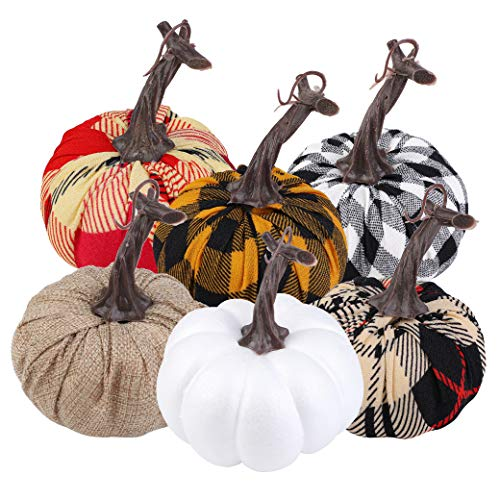 Aneco 6 Pack 4.7 Inches Artificial Pumpkins Assorted Harvest Decor Fabric Lifelike Decoration Pumpkins for Thanksgiving Halloween Seasonal Holiday Tabletop Decoration