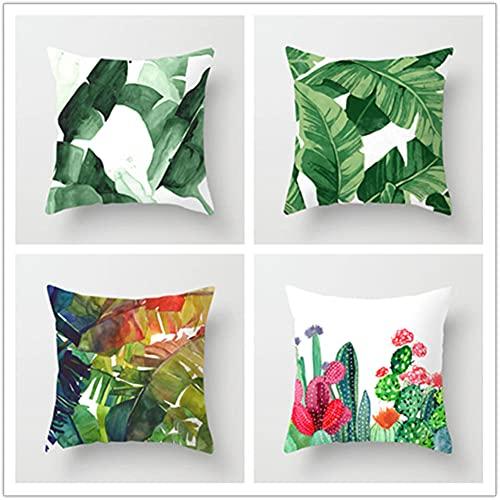 Super Suave Funda de Almohada, Hojas Verdes 4 Pack Algodón Lino Throw Pillow Case Fundas de Cojines para Cojín Hogar Decorativa Almohada para Sofá Coche Cama Sillas 40x40cm(16x16in)